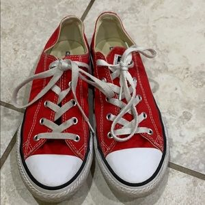 Red Low Top Converse All Star Sneakers 3